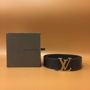 Louis Vuitton Dark Brown Gold Taiga Leather Belt